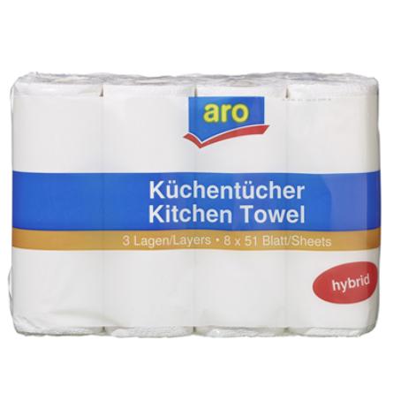 aro Küchenrolle 3-lagig (8 Rollen à 51 Blatt)