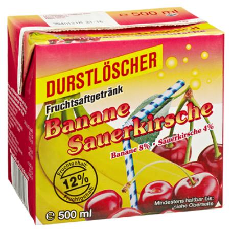 Durstlöscher Banane-Kirsch (12/0,5 l Packungen Einweg)