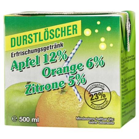 Durstlöscher Apfel-Orange-Zitrone (12/0,5 l Packungen Einweg)