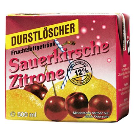 Durstlöscher Sauerkirsche-Zitrone (12/0,5 l Packungen Einweg)